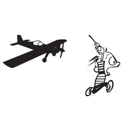 RC Plane Guy Pilot Running Vinyl Decal Sticker Window Laptop Graphic Cartoon, Die Cut Vinyl Decal for Windows, Cars, Trucks, Tool Boxes, laptops, MacBook - virtually Any Hard, Smooth Surface Rc Notebook
