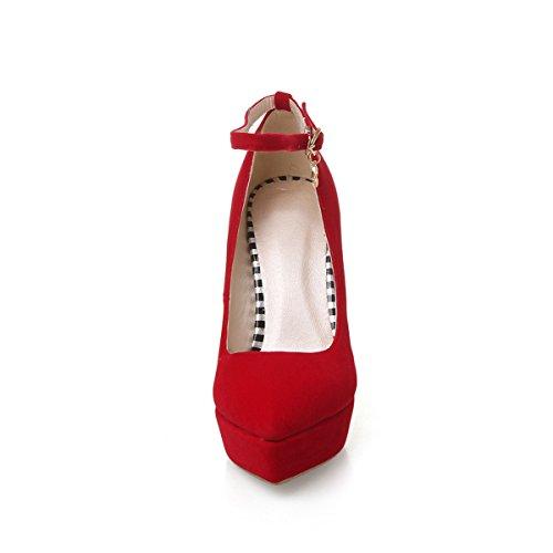 Spitz Ankle Damen Stiletto Party Rot Nubuckleder Heels Pumps Plateau mit Kn枚chelriemchen YE Elegant Schuhe Schnalle High Strap 0fHxIcq