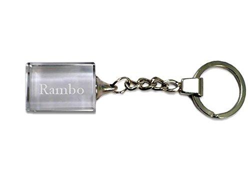 Preisvergleich Produktbild Eingravierter Glas-Schlüsselanhänger mit Aufschrift Rambo (Vorname/Zuname/Spitzname)