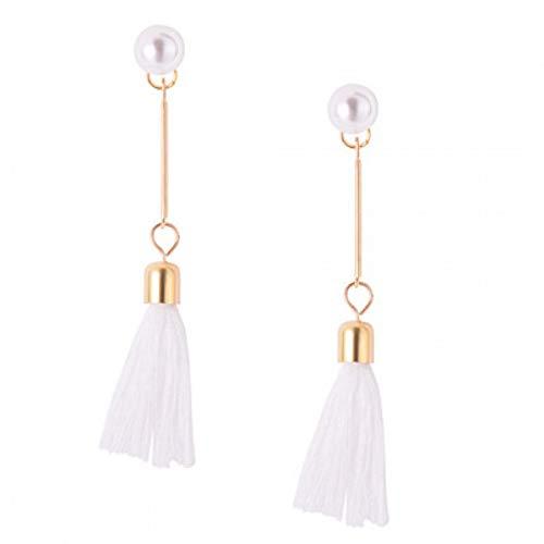 ERHUANEH Perle Tropfen & Baumeln Ohrringe Schwarz Weiß Quaste Ohrring Für Frauen Mädchen Anweisung Ohr Schmuck Exquisites Geschenk