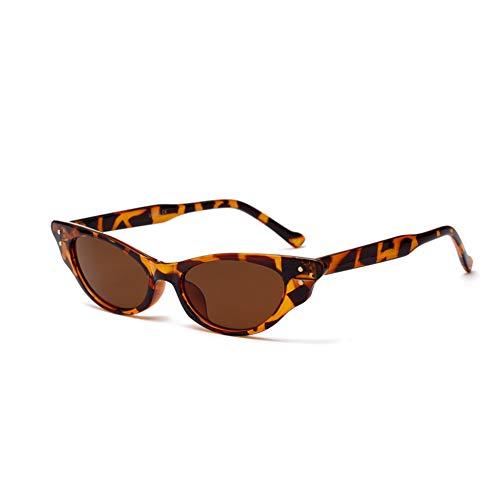 YOURSN Vintage Sonnenbrille Frauen Cat Eye Designer 90Er Jahre Sonnenbrille Retro Kleine Rote Damen Sonnenbrille Schwarz Brillen-Leopard