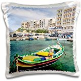 Boats - Malta - Hotel buildings and traditional Luzzu boats. - 16x16 inch Pillow Case