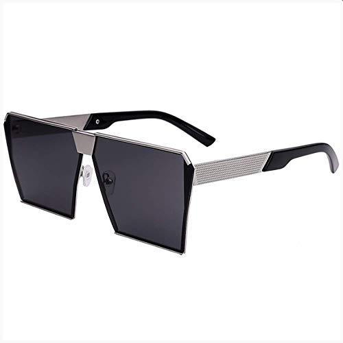 LZHTC Sonnenbrille Herrensonnenbrille Polarisierter Spiegel Weibliche Persönlichkeit Rundes Gesicht Große Rahmen Quadratische Brille
