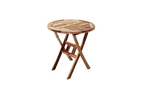 SAM Balkontisch, Gartentisch Teak-Holz, 70 cm Durchmesser, zusammenklappbarer Tisch aus Massivholz, für Ihren Garten [521426]