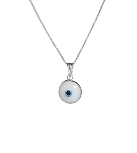 Wählen Sie Ihren Charme - Silber Evil Eye Halskette mit Evil Eye Protection Charme auf 925 Sterling Silber 50 CM Box Kette (weiß) (Eye Halskette Protection Evil)