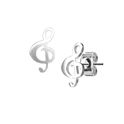 beyoutifulthings Damen 1 Paar funkelnde Ohringe GROSSER NOTENSCHLÜSSEL 6,5x12 mm Ohr-ringe Ohr-stecker Chirurgenstahl Silber