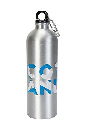 Mountain Warehouse Metall-Flasche mit Karabiner - 1-l-Trinkflasche mit Schottland-Aufdruck, robuster Karabiner - Reisezubehör für Backpacking, Camping, Pendeln, Wandern Silber -