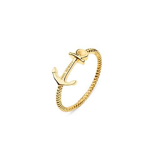 PAUL HEWITT Damenring Gold Anchor Rope - Damen Edelstahl Ring (vergoldet), Fingerring für Frauen