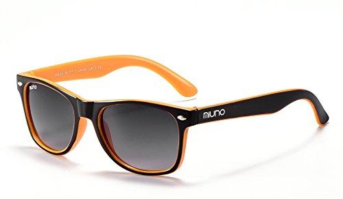 Miuno® Kinder Sonnenbrille Wayfare für Jungen und Mädchen Etui 2688 (Schwarz/Orange)