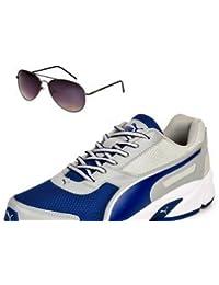 Puma Adamo Grey & Blue Shoe With TNF Men 100% UV Sunglasses