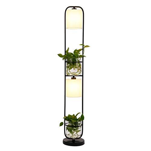 Moderne Décoration Chinois Usine Fleur Lampadaire Tissu Abat-Jour En Verre Étude Stand Lumière De Plancher AC110V-220V (Color : Black-122cm)