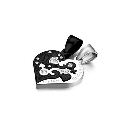 Flongo Partner Anhänger Halskette Partnerketten, 2 Stück Edelstahl Halskette Kette mit Eternal Love Gravur Herz Puzzler Anhänger Schwarz Silber Partnerschmuck Herren,Damen