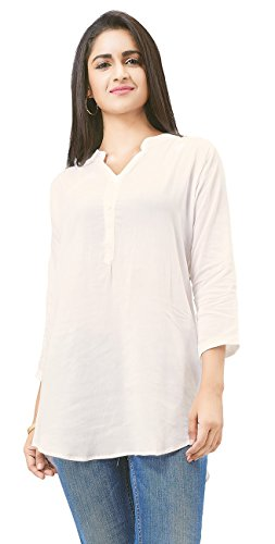 Aarnaa Women Casual Tunic 3/4th Sleeve Mandarin Collar Off White Muslin Short...