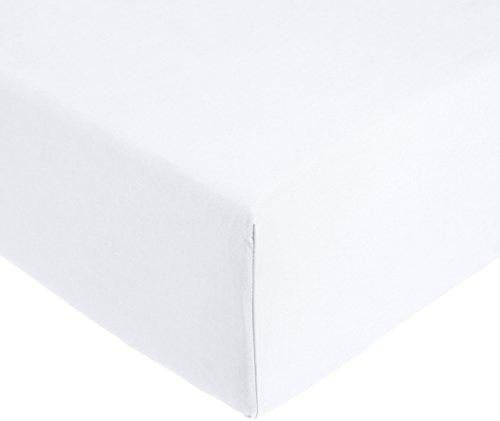 AmazonBasics 'Everyday' Spannbetttuch aus 100%, Baumwolle, 200 x 200 x 30 cm - Weiß