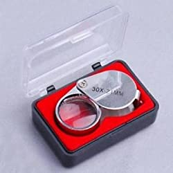 ELECTROPRIME Silver 30 x 21mm Jewelers Loupe LOUPE Magnifier Magnifying Glass in Storage CASE