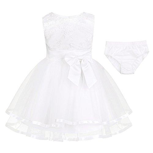 iEFiEL Baby Mädchen Prinzessin Kleid Blumenmädchenkleid Taufkleid Festlich Kleid Hochzeit Partykleid Festzug Outfits mit Baumwolle Höschen Ivory-Weiß 80-86 (Herstellergröße: 80) - Besticktes Mesh-set