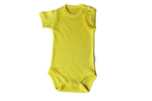 Kurzarm-Babybodys gelb Grösse 56 Body Unisex aus 100% Baumwolle mit Druckknöpfen