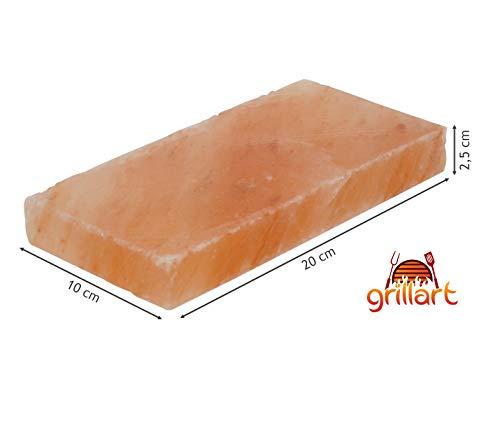 31rJAjSkYmL - grillart® Premium XL Salzstein zum Grillen (2er Pack) - Hochwertiger BBQ Salz Grillstein für einen besonderen Geschmack - Original Salzplanke zum Grillen