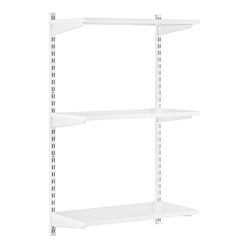 Stabiles Wandregalsystem Twin32 Wandregalset in weiß ideal für Wohnzimmer, Garage, Küche und Hauswirtschaftsraum - 2 x 1000 mm Wandschienen, 3 x Regalfachböden MDF beschichtet, 6 x Regalträger 900 mm - Verstellbare Regal, Stahl-regal