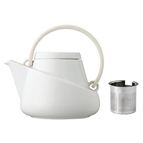 Kinto Ridge Teapot 750ml, White with Strainer by Kinto