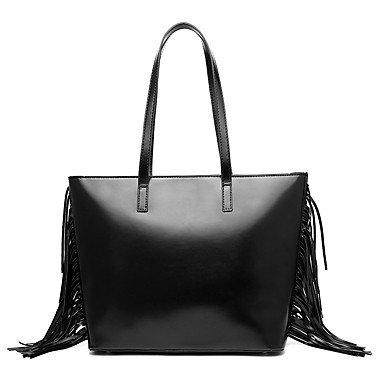 Frauen Handtasche Vintage Mode Quasten Leder Schulter Messenger Crossbody Taschen / Handtaschen Tote Black