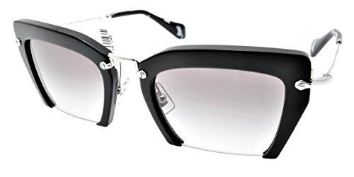 Miu Miu MU10QS, Occhiali da Sole Unisex-Adulto, Nero (Black 1AB0A7), Taglia Unica (Taglia Produttore: One Size)