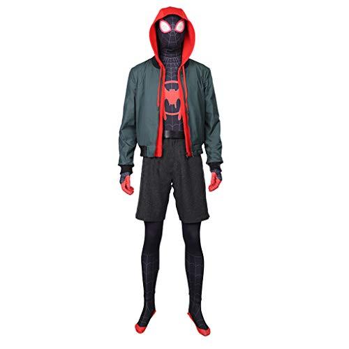 Für Kostüm Spiderman Verkauf Schwarzes - nihiug Film Spider-Man Parallel Cosmic COS Kleidung Little Black Spider Sweater Mäntel One Piece Full Cos Kostüm Halloween,Grey-XXXL