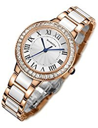 MAMONA Damen Uhr Analog Quarz mit Edelstahl und Keramik Armband Rose Gold L68008RG