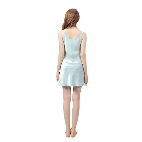 VANSILK 19mm 100% Soie Femme Chemise de Nuit Sexy Nuisette Bretelles Reglables Pure Douceur Robes Peignoir Turquoise