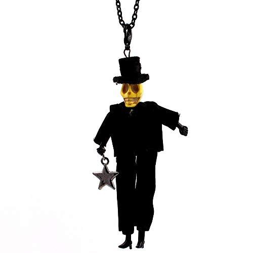 Schädel Kopf Puppe Halskette Kleid Schwarz Hut Handgemachte Französisch Puppe Stern Anhänger Lustige Alte Mann Mode Schmuck ()