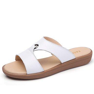 LvYuan Da donna Sandali Comoda Di pelle Estate Autunno Formale Comoda Piatto Bianco Giallo Fucsia 2,5 - 4,5 cm White