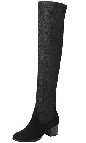 Overknee Stiefel Damen Spitzen Mesh Elastische Block Oberschenkel Stiefel Von BIGTREE Schwarz 35 (Kostüme Mesh Gefütterte)