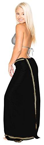La Leela rayon solido costume da bagno cucita sarong coprire pareo 78x39 pollici scuro Nero 1