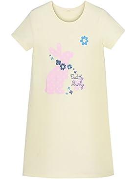 HOYMN Camisón para Niños 3-10ans Manga Corta Verano Pijamas en Algodón Estampado Conejo Amarillo