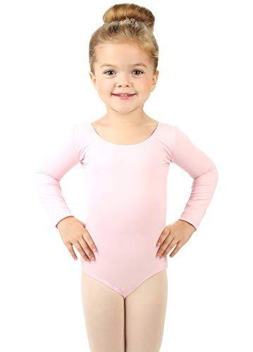 Elowel Kinder Madchen Basic Langarm Ballett Trikot Tanztrikot Gymnastikanzug Turnanzug Leotard Hellrosa (Grobe 2-14 Jahre) 4-6 Jahre