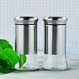YoHom Sale e pepe Set - Zucchero / Spice Shaker, lattine condimento / vaso con girante della copertura, in acciaio inossidabile e vetro Dredge, Set di 2 (nero)