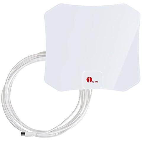 Antenne 1byone TNT HD pour TV Digitale, Antenne Super Fine de 0.5 mm, Meilleure Réception pour VHF/UHF/RM, Antenne Fournie Avec Un Câble de 3 m-Blanche