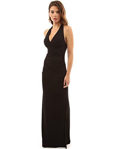 PattyBoutik Damen Halfter Empire-Taille Kleid Geraffte Seitenschlitz Maxi (schwarz 44/L)