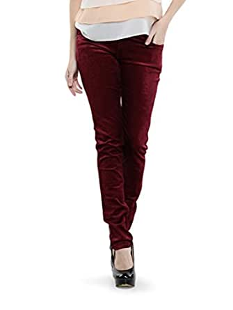 Dashy Club Trendy Maroon Cotrise Pants for Women - ( Size: 30 )