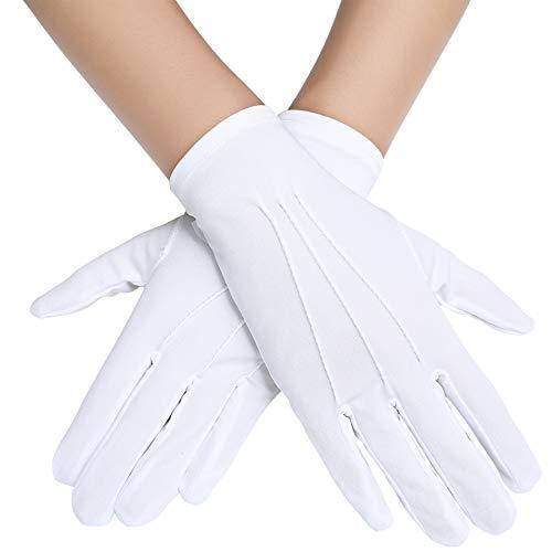 Coucoland Handschuhe Damen Kurz Satin Opera Fest Party Hochzeit Braut Handschuhe Fasching Kostüm Accessoires (Weiß)