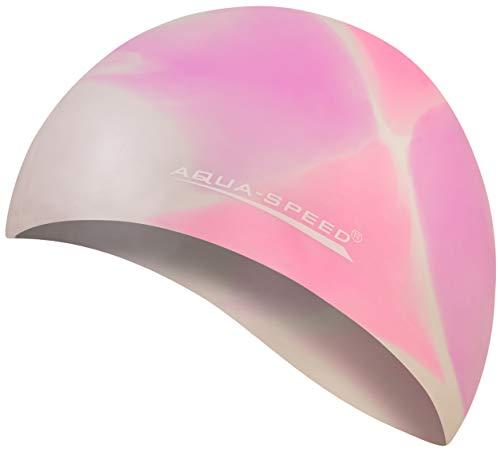 Aqua Speed® Set - BUNT Badekappe + Kleines Mikrofaser Handtuch | Silikon | Bademütze | Badehaube | Schwimmhaube | Erwachsene | Damen | Herren | Kinder, Kappen Designs:43. Bunt / 37