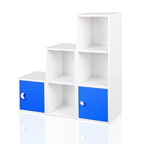 Regal Kinderregal Treppenregal Raumteiler Stufenregal Bücherregal Standregal Blau Rosa Weiß Grün, Farbe:Blau