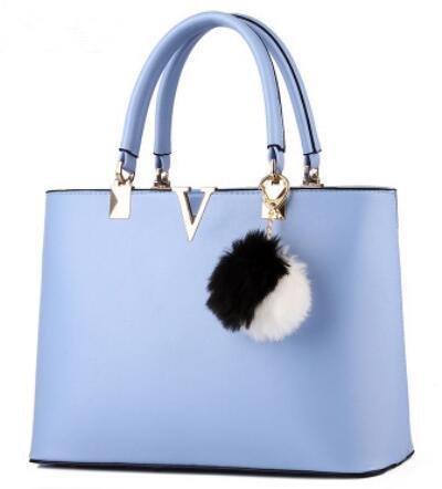 Hqyss Borse Da Donna Ms. Pu Leather Messenger Borsa A Tracolla Portatile A Forma Di V A Forma Di Signora Dolce Azzurro