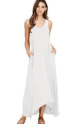NASKY Femme Robe Sans Manches Longue Ete Robe Boheme Chic Maxi Plissée Casual Maxi Dress Avec Poches (Large, Blanc)