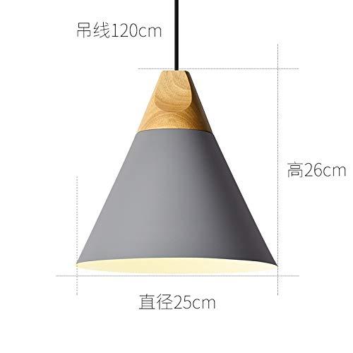 Cafe Licht kreative Persönlichkeit hängen großen Durchmesser 25cm grau mit monochromen LED warmes Licht 9 Watt Birne (Grau Und Gelb-vorhang-panels)