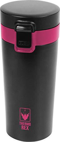 Thermo Rex Peak Isolierbecher 350 ml mit Deckel - nahezu bruchsicher und wiederverwendbar geeignet für heiße und kalte Getränke - Kaffeebecher to Go Edelstahl (Schwarz-rot)