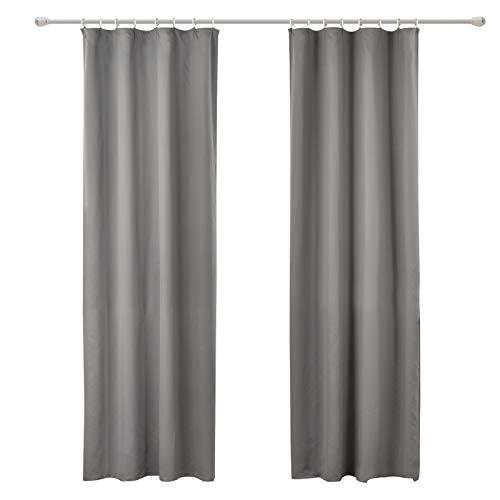 WOLTU #489-2, 2er Set Gardinen Vorhang Blickdicht mit kräuselband für schiene, leichte & weiche Verdunklungsvorhänge für Wohnzimmer Schlafzimmer Tür, 135x225 cm, Grau