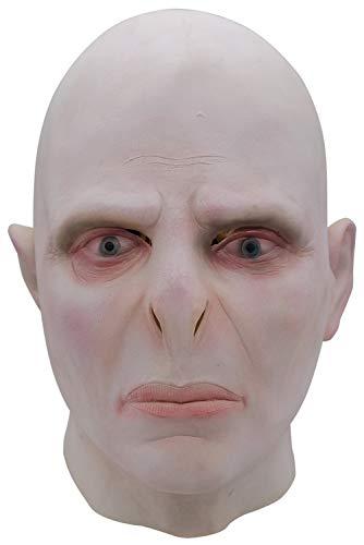 RedJade Halloween Voldemort Latex Maske Kopfbedeckung Cosplay Helm Grau