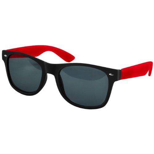 Caspar SG008 Unisex Retro Nerd Sonnenbrille, Farbe:rot