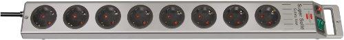 Brennenstuhl Super-Solid, Steckdosenleiste 8-fach (2,5m Kabel und Schalter - aus bruchfestem Polycarbonat) Farbe: schwarz / silber